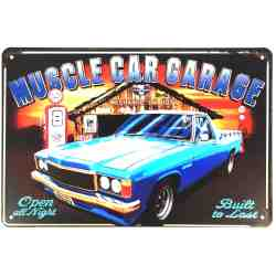 "Plaque Métal US ""Muscle Car Garage"" - 20 x 30 cm."