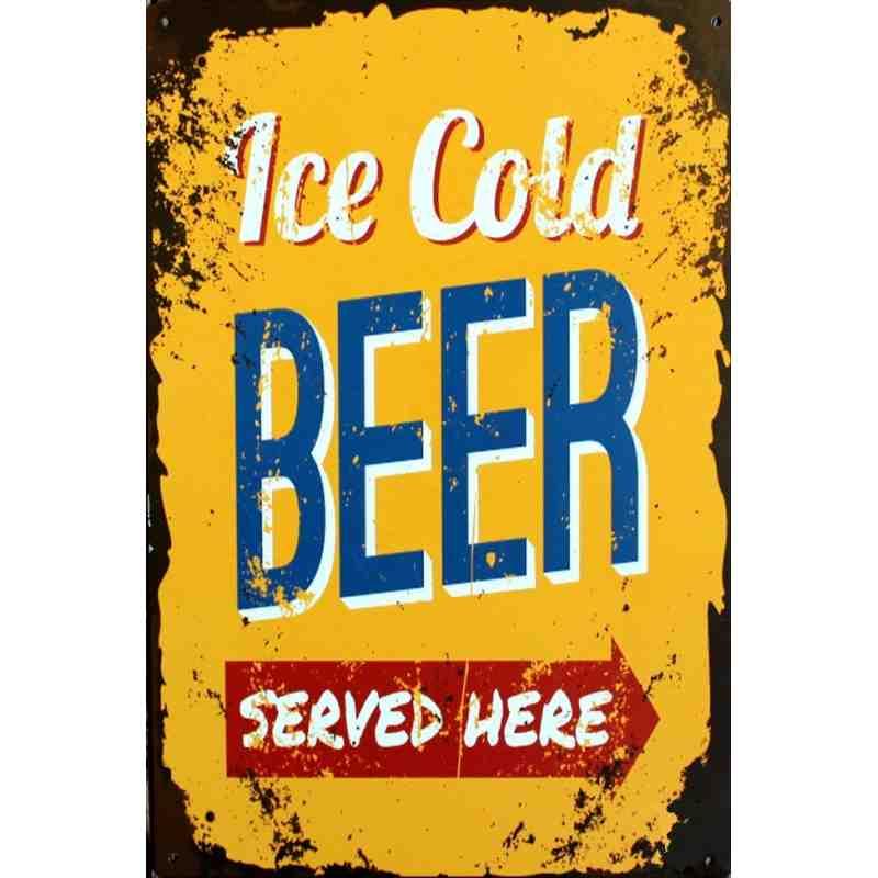 """Plaque Métal """"Ice Cold Beer""""  - 20 x 30 cm."""