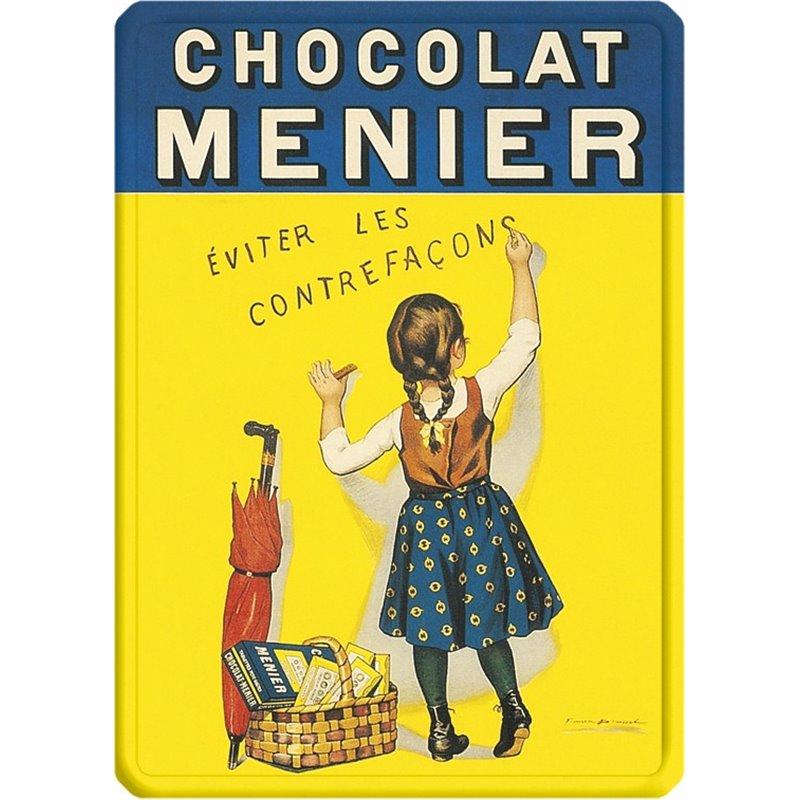 """Plaque métal pub ancienne """" Chocolat Menier"""" - 15 x 21 cm"""