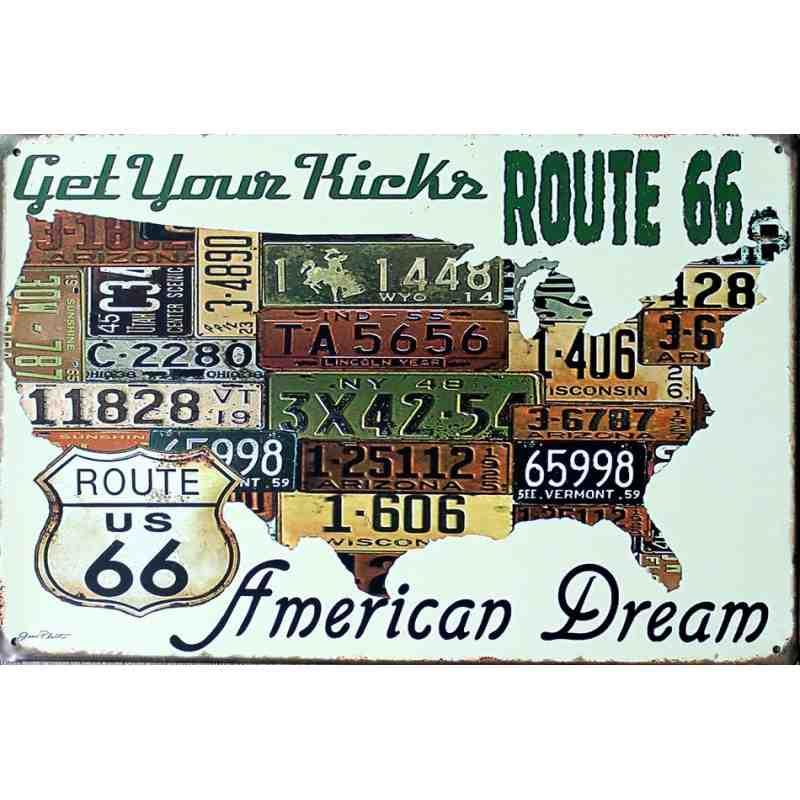 """Plaque Métal Déco """"Route 66 - Get Your kicks On"""" - 20 x 30  cm."""