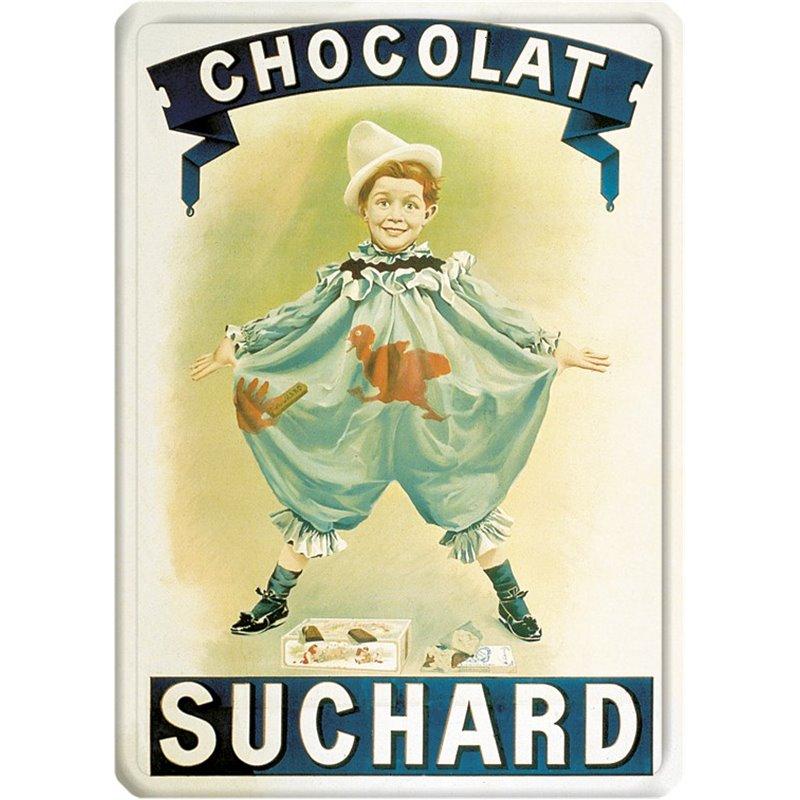 """Plaque métal publicité ancienne """" Chocolat Suchard"""" - 15 x 21"""
