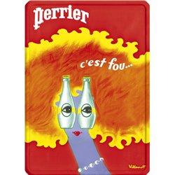 """Plaque métal pub ancienne """"Perrier c'est fou!"""" - 15 x 21"""