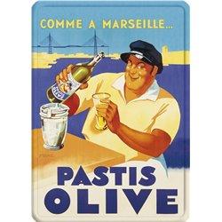 """Plaque en métal publicitaire """"Pastis Olive"""" - 15 x 21 cm"""