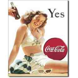 plaque métal US pin-up Coca Cola YES