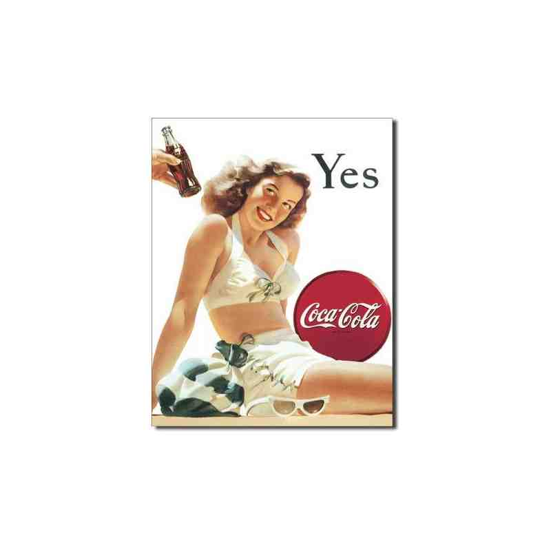 plaque métal US pin-up Coca Cola YES