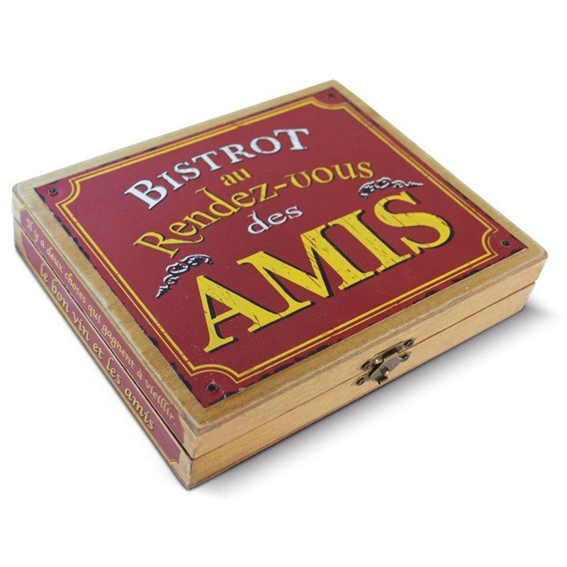 """Coffret à vin vintage en bois """"le Bistrot des Amis"""""""