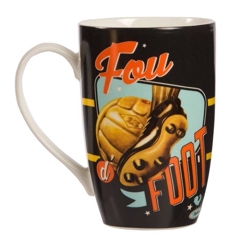 "Mug / Tasse look vintage ""Fou de foot"""