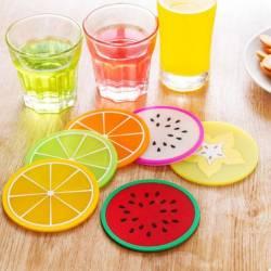 """Lot de 6 sous-verres vinyle tendance """"Fruits"""""""