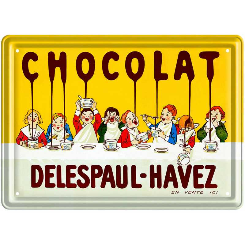 """Plaque Métal 15 x 21 cm """"Chocolat Delespaul""""."""
