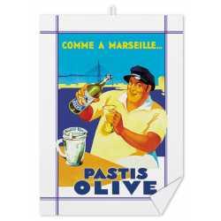 "Torchon ""Pastis Olive Marseille"""