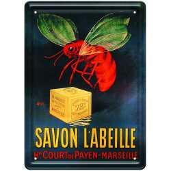 """Plaque métal  publicitaire """"Savon l'Abeille"""" ."""