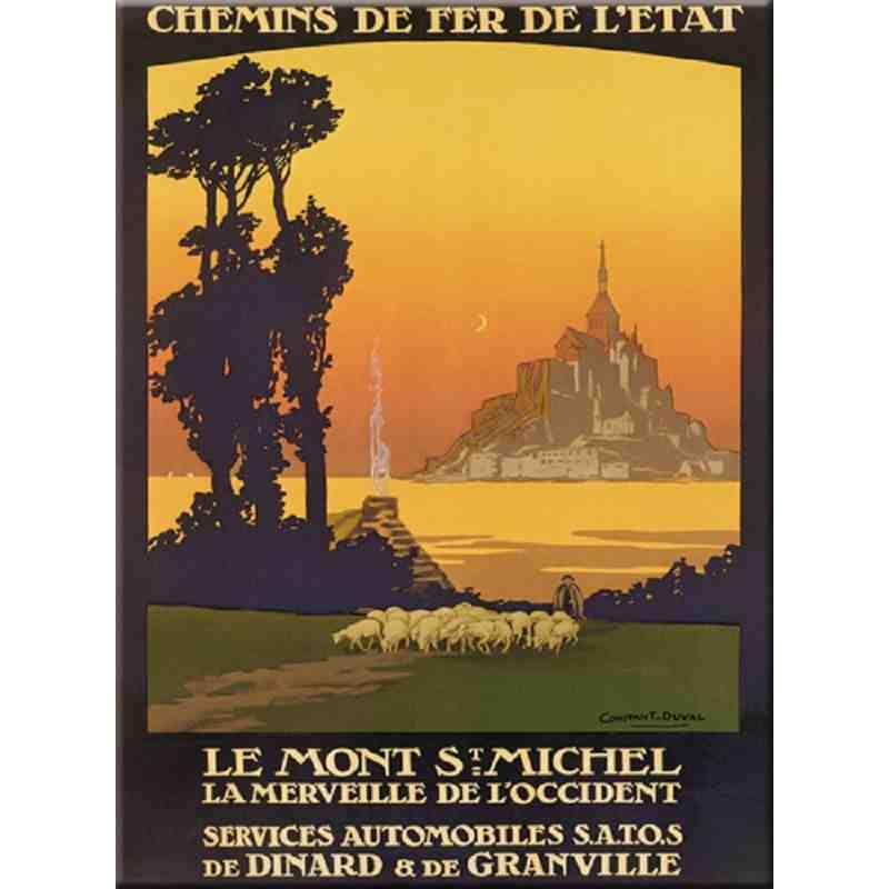"""Plaque métal """"Excursions au Mont-Saint-Michel"""" - 15 x 21"""