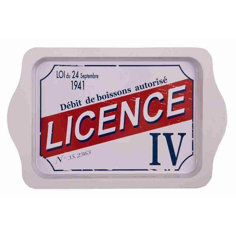 """Plateau métal rectangulaire rétro vintage """"Licence IV"""""""