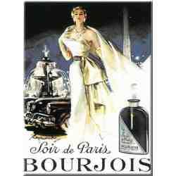 """Plaque Métal Rétro """"Soir De Paris - Parfum Bourjois"""" 15-x-20"""