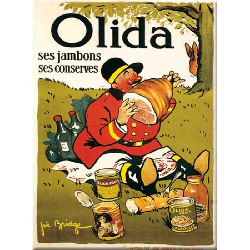 """Plaque Métal """"Olida, Ses Jambons, Ses Conserves"""" 15 x 20"""
